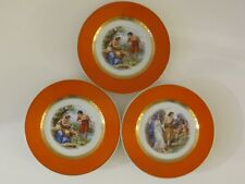 "3 VINTAGE CMIELOW HAND PAINTED MYTHOLOGICAL THEMED 6 1/2"" PLATES ~ ORANGE & GOLD"