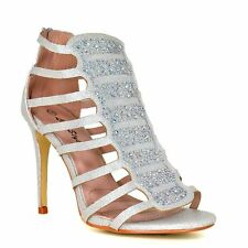 Ladies High Heel Gladiator Sandals Zip Up Caged Ankle Sandals Peep Toe Strappy