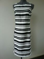 NWT ESPRIT BLACK & WHITE HORIZONTAL STRIPS WORK EVERYDAY PENCIL DRESS SIZE 8