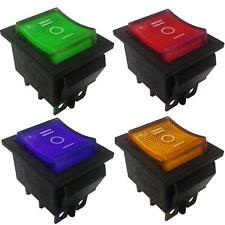 DPDT On-Off-On Latching Rocker Switch 6 Pins  15A 250VAC colour Light.