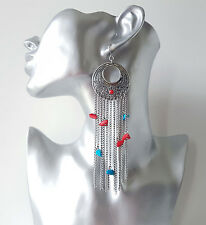 Beautiful Long silver tone turquoise & coral colour bead & chain drop  earrings