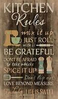 Kitchen Rules Distressed 24 x 14 Wood Pallet Wall Art Sign Plaque