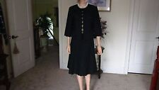 Donna Degnan Black Eyelet 6 Gore Skirt and Crop Jacket Size 8