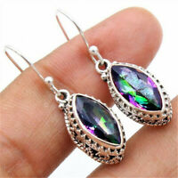 925 Sliver Mystic Rainbow Topaz Ear Stud Drop Dangle Earrings Women Jewelry Gift
