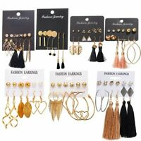 6Pairs Chic Korean Tassel Earrings Set Crystal Ear Stud Hoop Dangle Hook Women