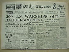 DAILY EXPRESS WWII NEWSPAPER APRIL 28th 1941 200 US WARSHIPS OUT RAIDER SPOTTING