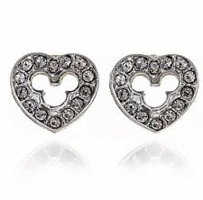 ZARD Mickey Mouse Motif Heart Stud Earrings in Silvertone Crystal Pave