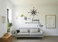 Life Is A Journey Travel Compass Quote Transfer Wall Art Sticker Decal Q89