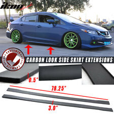 "78"" x 3"" Universal Style Side Skirt Extension Flat Bottom Line Lip Honda Acura"