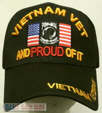 VIET NAM VIETNAM CAMPAIGN VETERAN VET POW MIA USA FLAG PROUD OF IT CAP HAT BLACK