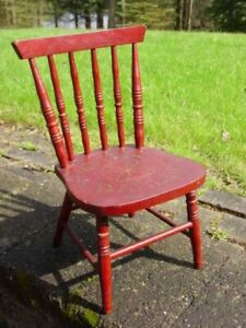 Antique Stenciled 'OUR DARLING' Childs Wood CHAIR Red Paint Spindle Back Vintage