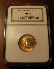 Netherlands 1876 Gold 10 Gulden NGC MS66
