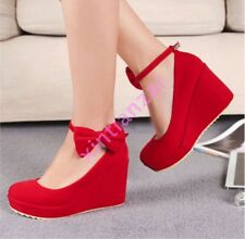 Lolita Womens Party Bowtie Faux Suede Mary Janes Platform High Heel Wedges Shoes