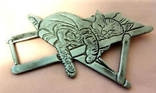 Vintage Signed Mystique Silver Tone Cute Rocking Cat On Chair Pin Brooch Rare