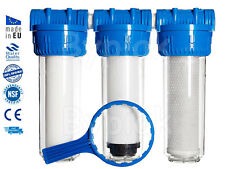 "3 Stage Whole House Water Purifier and Softener Filter Kit Salt Free 3/4"" BSP"