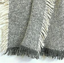 "ITALY Wool Throw Blanket Afghan Geometric Striped Textures Gray White 46"" Sq New"