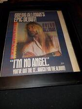 Gregg Allman I'm No Angel Rare Original Radio Promo Poster Ad Framed!