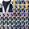 Mens Silk Ascot Cravat Set Paisley Floral Dots Plaids Checks Tie Hanky Cufflinks
