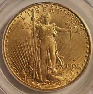 1908 D With Motto PCGS 64 Saint-Gaudens $20 Gold Double Eagle