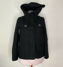 NWT Zara Women Black Short Coat Wrap Around Collar & Hood Size XS MRSP $119 Wool