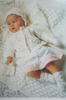 Babys Shawl, Cardigan, Bonnet, Mitts and Bootees Knitting Pattern (BB16)