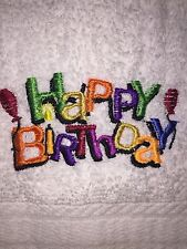 Embroidered Bathroom Hand Towel Happy Birthday HS0596  with candle and balloons