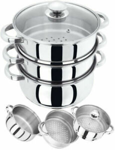 3 TIER-  22CM INDUCTION HOB STAINLESS STEEL STEAMER POT PAN COOKER SET GLASS LID