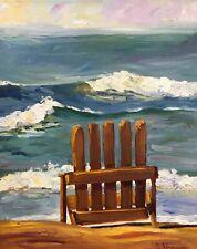 Plein Air Painting Seascape Beach Chair 11x14 inches Original Oil Painting a Day