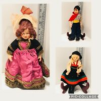 VINTAGE COLLECTION OF 10 HAND MADE CLOTH SOUVENIR COSTUME DOLLS 1930,40s,50s