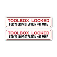 2X Toolbox Locked Protect Sticker Decal Funny Joke Luggage Rude Silly Car Laptop