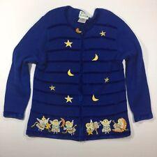 QUACKER FACTORY Sz Large Angels Sweater Top Cardigan Long Sleeve Blue Zip Stripe