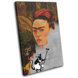 Frida Kahlo Banksy Delete Urban SINGLE CANVAS WALL ART Picture Print