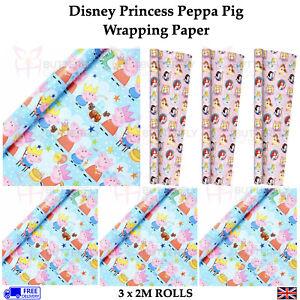 Disney Princess or Peppa Pig Wrapping Paper 3 x Rolls Girls Kids Birthday Wrap