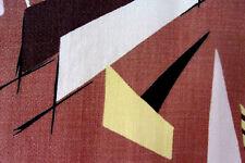 Vintage mid century modern abstract barkcloth fabric 2 curtains drapes panels!