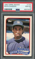 Deion Sanders Yankees 1989 Topps Traded Baseball Rookie Card RC #110T PSA 10