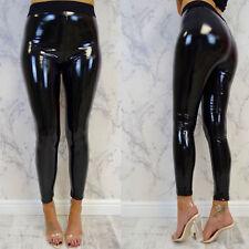 New Womens Black PU High Waisted Vinyl Skinny Shiny Wet Look Ladies Trousers