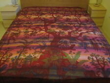 HANDMADE BED SHEET THROW WALL HANGING -TREE OF LIFE DESIGN - QUEEN-NEW