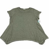 Style & Co Womens Shirt Top Burnout Handkerchief-Hem Ivy Green Plus Sizes