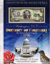 WASHINGTON DC Genuine Colorized $2  Bill Panel from 2003 District of Columbia