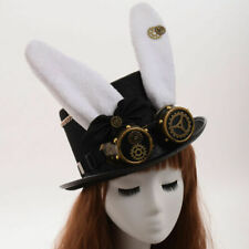 Vintage Top Hat Steampunk Gear With Gothic Glasses Punk Party Bunny Ear Hat
