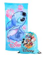 "Disney Stitch Cotton Floral Beach Towel 58x28 w/ 15"" Mickey Drawstring Tote Bag"