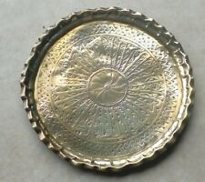 Antique Brass Indian Tray with Engraved Decoration