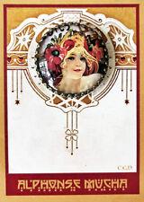 "BISCUITS LEFEVRE UTILE Glass Dome STUDIO  BUTTON Vintage MUCHA WOMAN 1 1/4"""