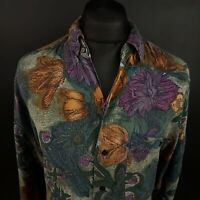 Angelo Litrico Mens Vintage Crazy Print Shirt XL Long Sleeve Classic Fit Retro