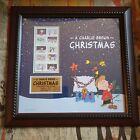 Framed Charlie Brown Snoopy Peanuts 2015 US Postage Stamps Christmas USPS