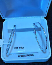 STERLING SILVER DIAMOND ACCENT HOOP PIERCED EARRINGS,NWT $175 TAG/GIFT BOX