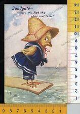V3980] BUONA PASQUA EASTER SCENA PULCINO UMANIZZATO VESTITO SULLA SPIAGGIA 1909