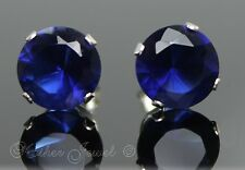 8mm SOLID 925 STERLING SILVER Round Sapphire Blue CZ Stud Ladies Mens Earrings