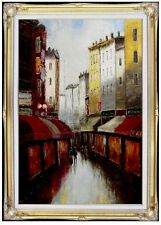 Framed, Cafe shops Down a Narrow Alley, Hand Painted Oil Painting 24x36in