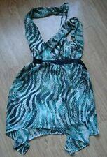ASOS Wrap Zip Green Snake Zebra Animal Print Long Party Top UK Size 10 Small New